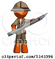 Orange Explorer Ranger Man Holding Large Scalpel