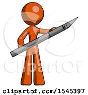 Orange Design Mascot Woman Holding Large Scalpel