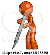 Orange Design Mascot Man Cutting With Large Scalpel