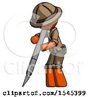 Orange Explorer Ranger Man Cutting With Large Scalpel