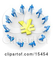 Group Of Blue Businessmen Carrying Briefcases Standing In A Circle Around A Yen Sign Clipart Illustration Image by 3poD