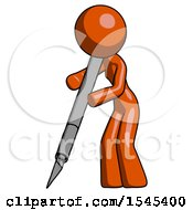 Orange Design Mascot Woman Cutting With Large Scalpel