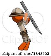 Orange Explorer Ranger Man Stabbing Or Cutting With Scalpel