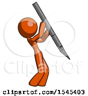 Orange Design Mascot Woman Stabbing Or Cutting With Scalpel