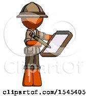 Orange Explorer Ranger Man Using Clipboard And Pencil