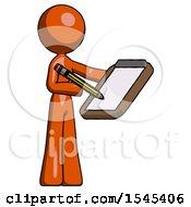 Orange Design Mascot Woman Using Clipboard And Pencil