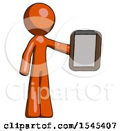 Orange Design Mascot Man Showing Clipboard To Viewer