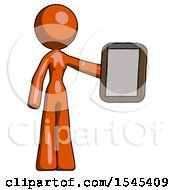 Orange Design Mascot Woman Showing Clipboard To Viewer