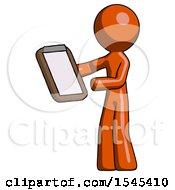 Orange Design Mascot Man Reviewing Stuff On Clipboard