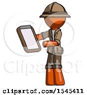 Orange Explorer Ranger Man Reviewing Stuff On Clipboard