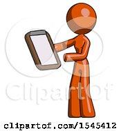 Orange Design Mascot Woman Reviewing Stuff On Clipboard