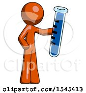 Orange Design Mascot Man Holding Large Test Tube