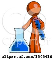 Orange Design Mascot Man Holding Test Tube Beside Beaker Or Flask