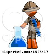 Orange Explorer Ranger Man Holding Test Tube Beside Beaker Or Flask