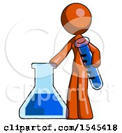 Orange Design Mascot Woman Holding Test Tube Beside Beaker Or Flask