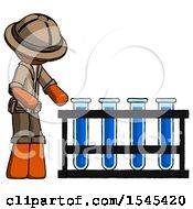 Orange Explorer Ranger Man Using Test Tubes Or Vials On Rack