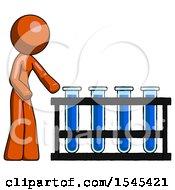 Orange Design Mascot Woman Using Test Tubes Or Vials On Rack