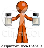 Orange Design Mascot Man Holding Two Medicine Bottles