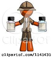 Orange Explorer Ranger Man Holding Two Medicine Bottles