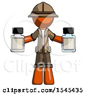 Orange Explorer Ranger Man Holding Two Medicine Bottles by Leo Blanchette