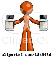 Orange Design Mascot Woman Holding Two Medicine Bottles