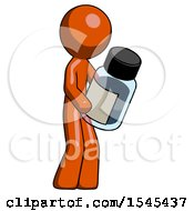 Orange Design Mascot Man Holding Glass Medicine Bottle
