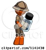 Orange Explorer Ranger Man Holding Glass Medicine Bottle