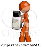 Orange Design Mascot Man Holding White Medicine Bottle