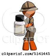Orange Explorer Ranger Man Holding White Medicine Bottle