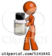 Orange Design Mascot Woman Holding White Medicine Bottle