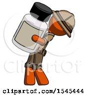 Orange Explorer Ranger Man Holding Large White Medicine Bottle