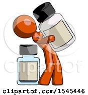 Orange Design Mascot Man Holding Large White Medicine Bottle With Bottle In Background