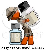 Orange Explorer Ranger Man Holding Large White Medicine Bottle With Bottle In Background by Leo Blanchette