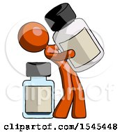 Orange Design Mascot Woman Holding Large White Medicine Bottle With Bottle In Background