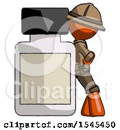 Orange Explorer Ranger Man Leaning Against Large Medicine Bottle