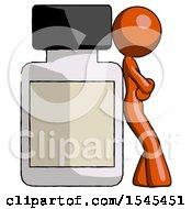 Orange Design Mascot Woman Leaning Against Large Medicine Bottle