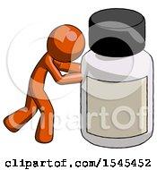 Orange Design Mascot Man Pushing Large Medicine Bottle