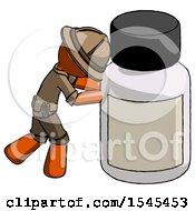 Orange Explorer Ranger Man Pushing Large Medicine Bottle