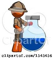 Orange Explorer Ranger Man Standing Beside Large Round Flask Or Beaker