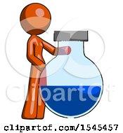Orange Design Mascot Woman Standing Beside Large Round Flask Or Beaker