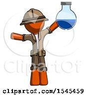 Orange Explorer Ranger Man Holding Large Round Flask Or Beaker