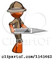 Orange Explorer Ranger Man Walking With Large Thermometer