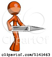 Orange Design Mascot Woman Walking With Large Thermometer