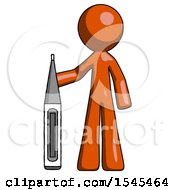 Orange Design Mascot Man Standing With Large Thermometer