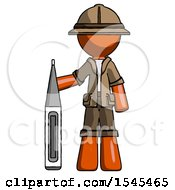 Orange Explorer Ranger Man Standing With Large Thermometer