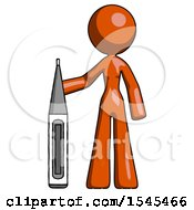 Orange Design Mascot Woman Standing With Large Thermometer