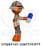 Orange Explorer Ranger Man Holding Blue Pill Walking To Right