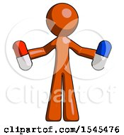 Orange Design Mascot Man Holding A Red Pill And Blue Pill
