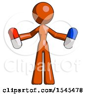 Orange Design Mascot Woman Holding A Red Pill And Blue Pill