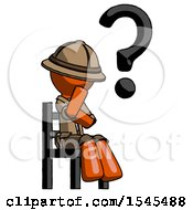 Orange Explorer Ranger Man Question Mark Concept Sitting On Chair Thinking